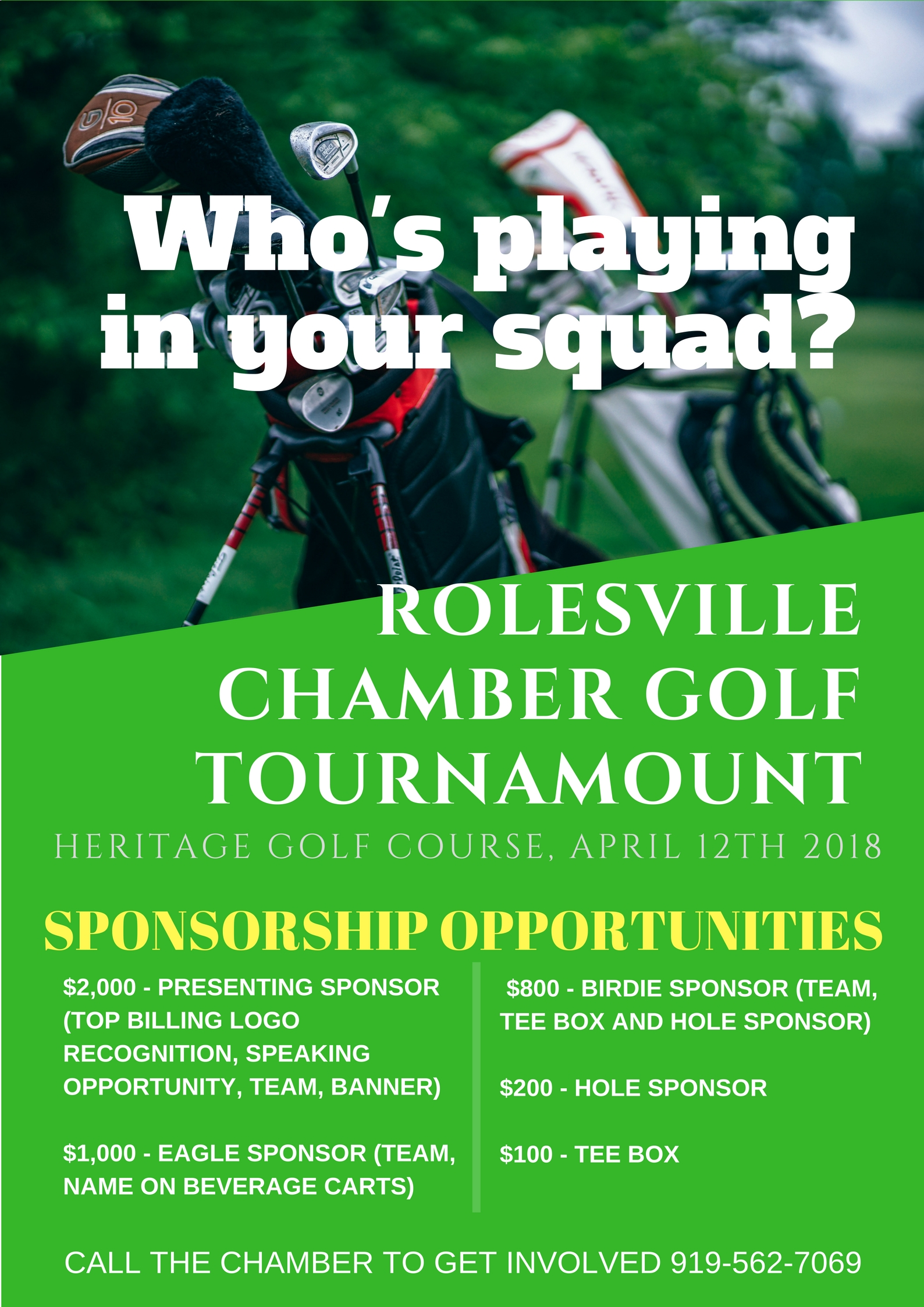 Country Club Green Golf Tournament Poster