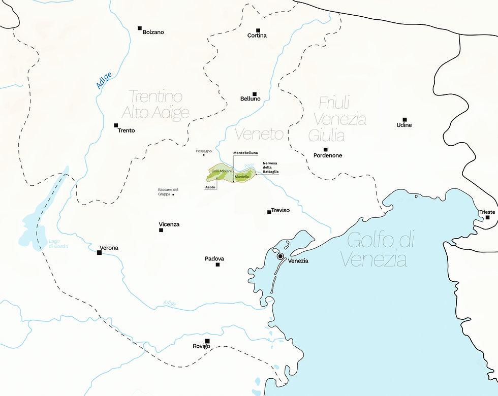 Il territorio dell'area doc Montello-Colli Asolani