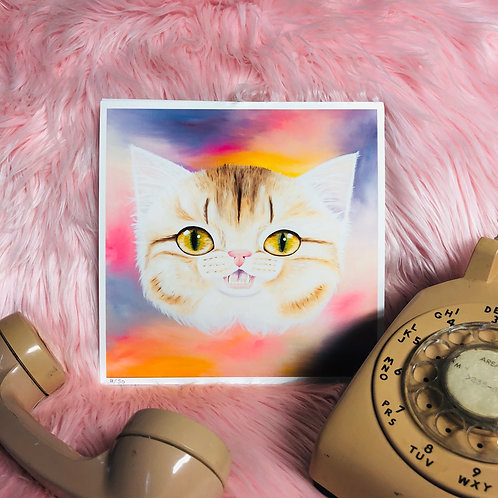 Kitty Big Head Art Print - Limited Edition