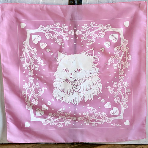Let Your Heart Bloom Kitty Bandana - Pink