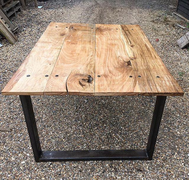 #oak #industrial #kitchen #table with steel legs #interiordesign