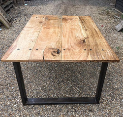#oak #industrial #kitchen #table with steel legs #interiordesign