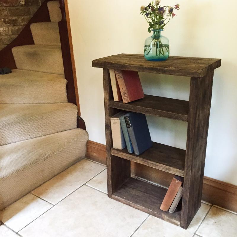 dark wax bookcase