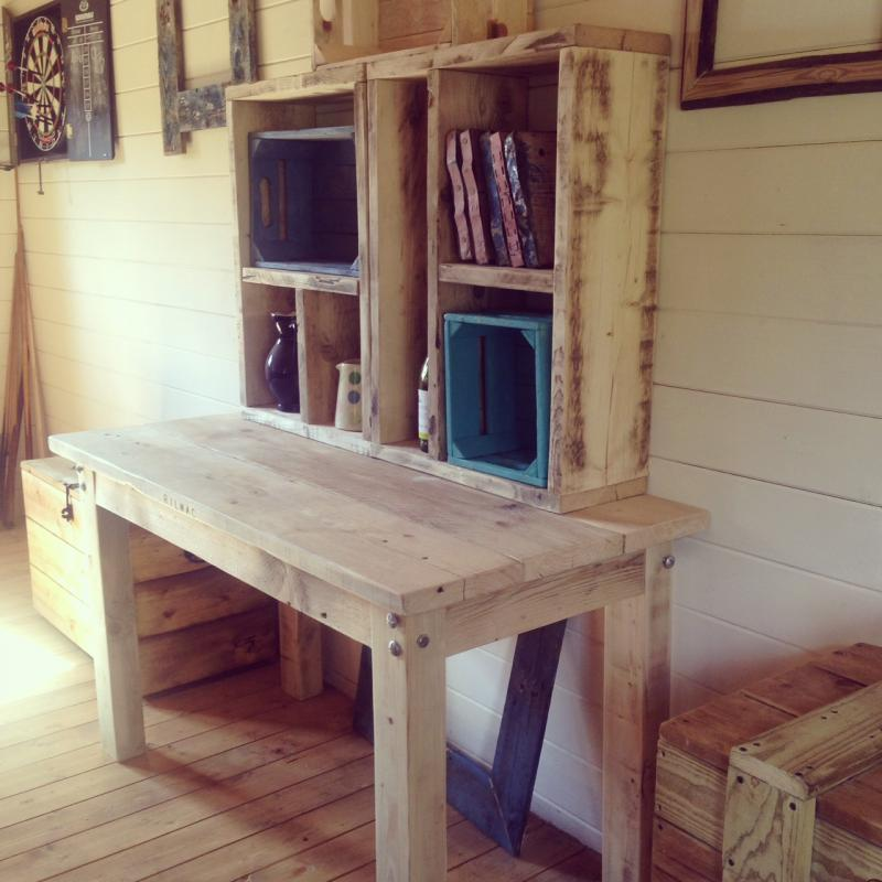 table and crates