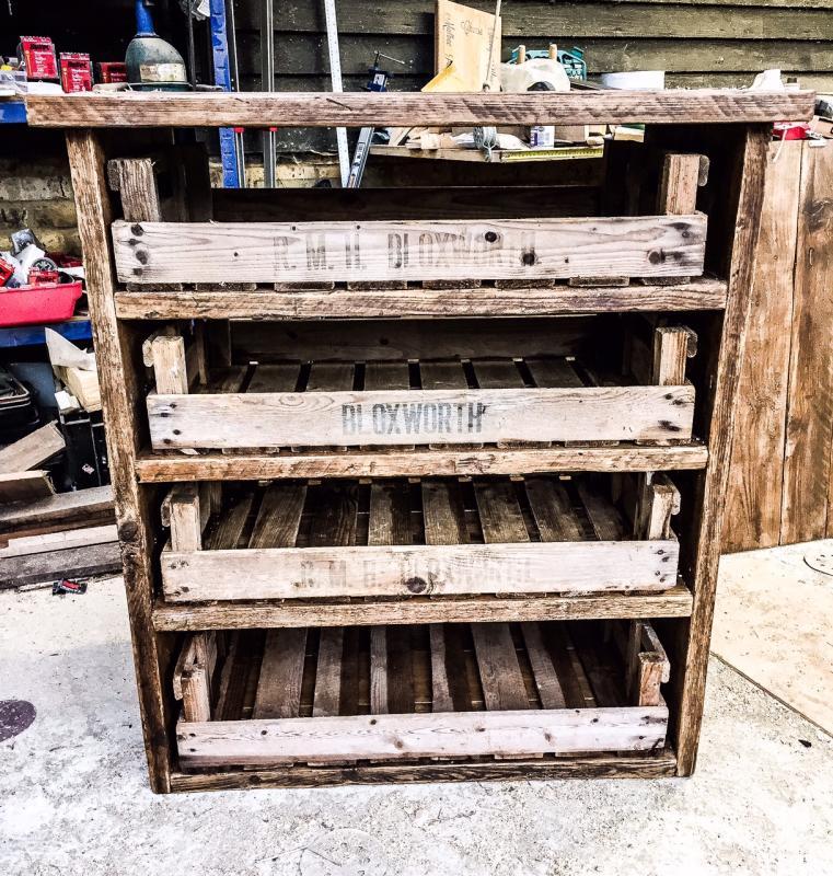 scaffold storage unit with trays