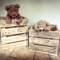 New #pallet apple crates as #toy boxes #teddy bear #storage #interiordesign #upcycle #nationalupcycl