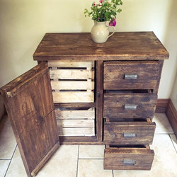 chest of drawers with crates