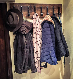 #railroad #nail #coatrack is up and in use at its new home with #toggi and #barbour gear ready for #
