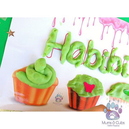 Cupcake themed personalised playdough mat pack