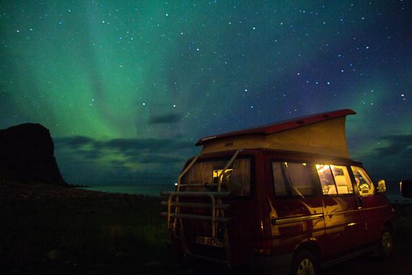Camper van northen light Unstand Norway