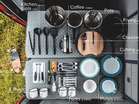 Basic kitchenware for campervan cooking.