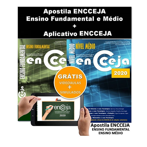 2 Apostilas Impressas ENCCEJA Ensino Fundamental e Médio + Aplicativo
