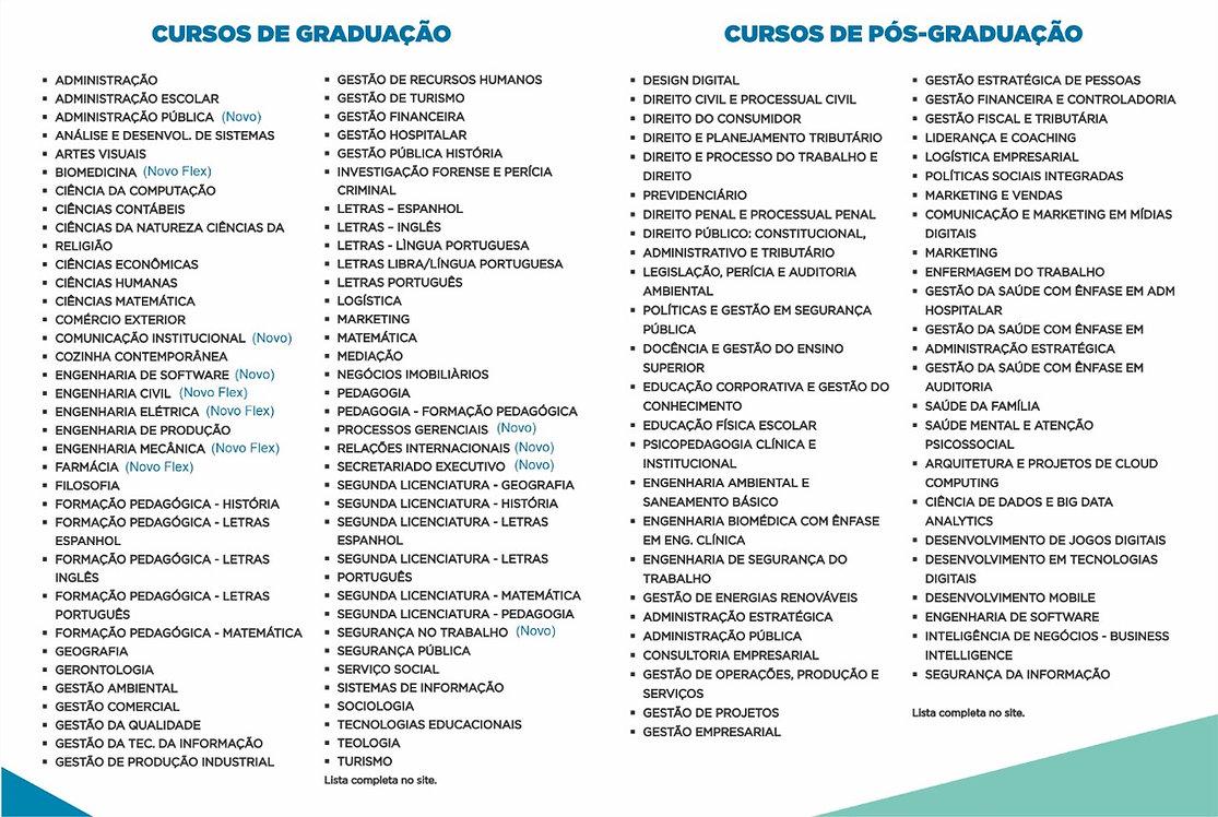 lista de cursos, Graduação e Pós Graduaç