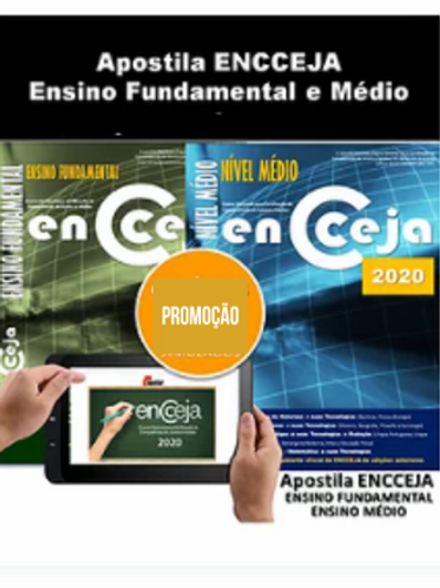2 Apostilas Impressas ENCCEJA Ensino Fundamental e Médio
