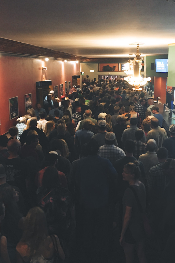 a crowd at the Paramount