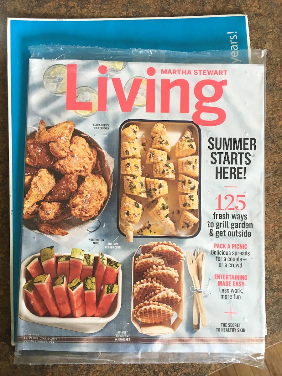 Martha Stewart Living summer issue in winter storm