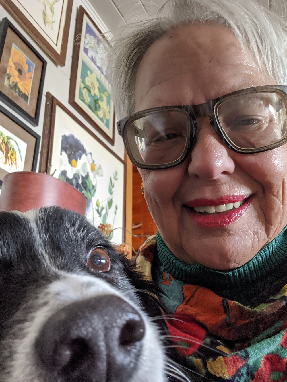 woman with dog selfie
