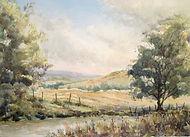 Near two bridges Dartmoor watercolour by David Mather