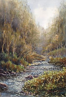 River Walkham, Watercolour by David Mather