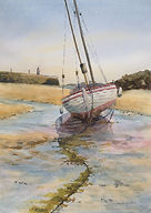 Low tide St Ives, watercolour by David Mather