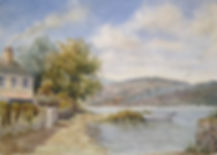 Bere Ferrers slip way, river Tamar Devon, watercolour by David Mather. [SOLD]