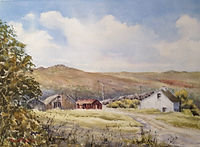 Merrivale quarry Dartmoor, watercolour by David Mather