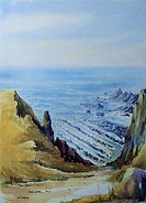 Crookletts beach Bude watercolour by David Mather