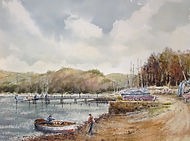Weir quay, watercolour by David Mather
