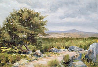 Towards Brentor from Pew Tor oil painting by David Mather