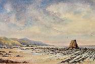 Black rock Widemouth bay watercolour by David Mather