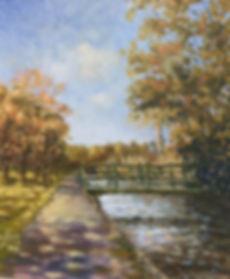 Canal walk Tavistock oil painting by David Mather