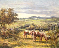 Dartmoor Ponies, oil painting by David M