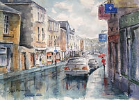 Wet day Tavistock, watercolour by David Mather [Sold]