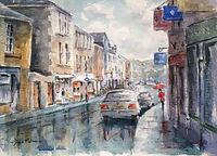 Wet day Tavistock, watercolour by David Mather [Sold]