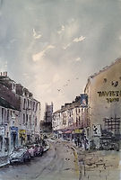 Brook street Tavistock, Watercolour by David Mather [Sold]