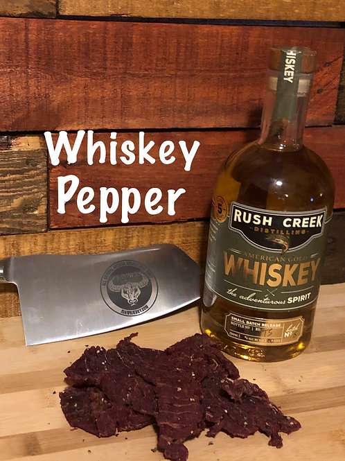 Whiskey Pepper Smoked Beef Jerky 3 oz Package. Pkg.
