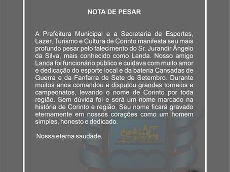 Nota de Pesar - Sr. Jurandir Angelo da Silva, mais conhecido como Landa.