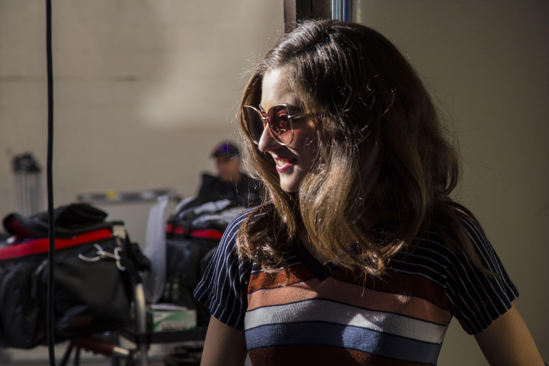 Rebecca in garage