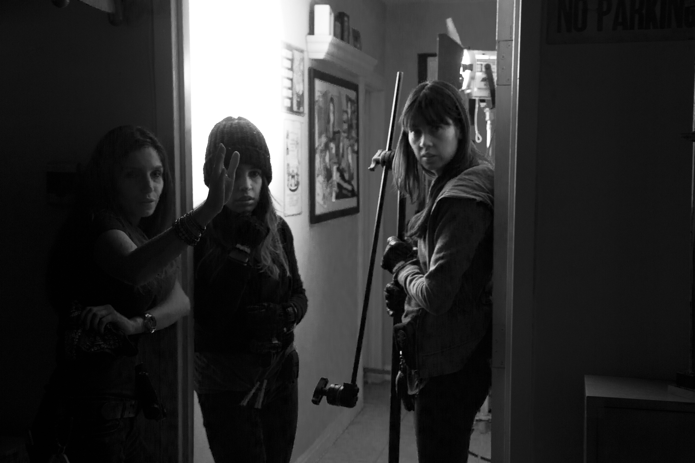 Women in doorway B&W