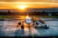 Passenger airplane on runway near the te