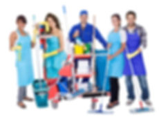 Group of professional cleaners. Isolated