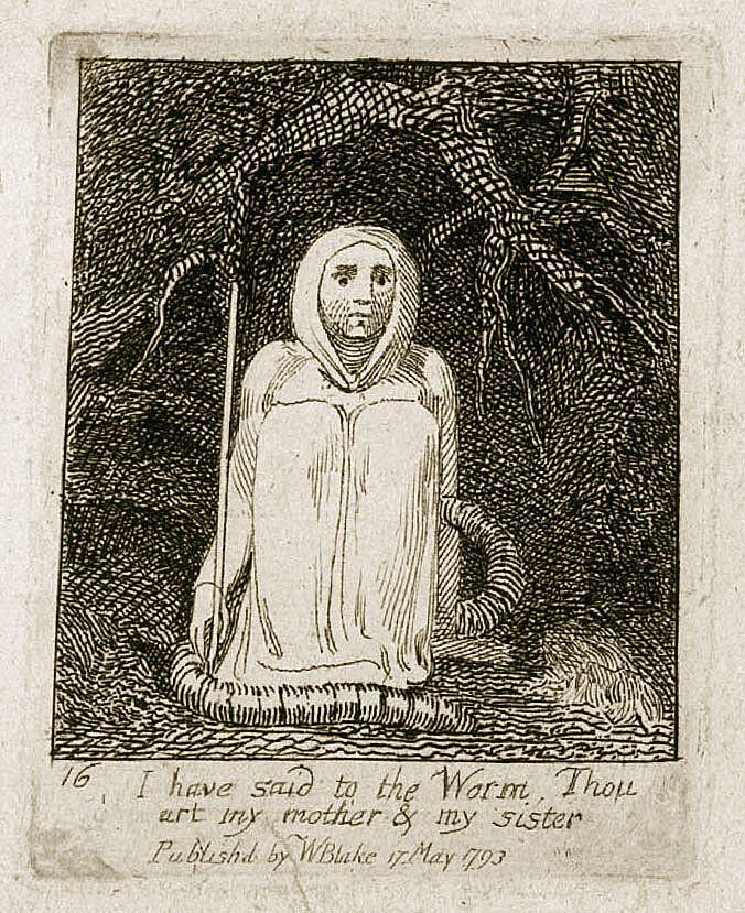 Gravure au trait extraite du livre pour enfants Gates of Paradise de Wiliam Blake, 1793.