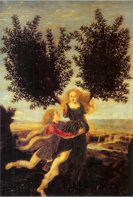 Apollon et Daphné de Antonio del Pollaiuolo (peintre italien 1432-1498)