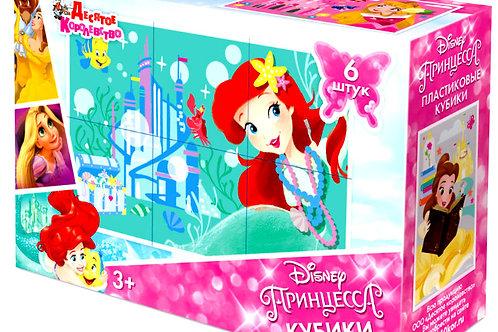 Пластмассовые кубики «Принцессы» Disney (6 шт)