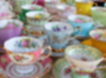 Pretty Pastel Tea Cups in Row - Afternoo