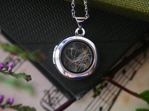 Dandelion seed sterling silver glass locket