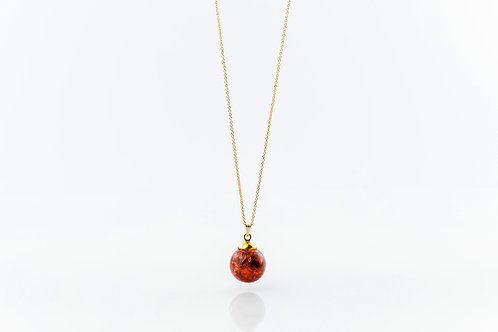 Rowan berry resin sphere gold fill necklace