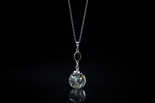Dandelion seed and smokey quartz sterling silver resin sphere necklace