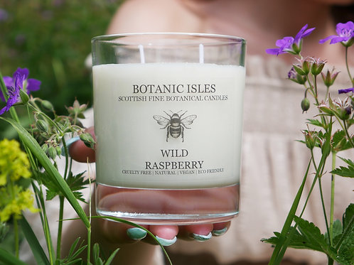 Wild raspberry double wick clear glass candle