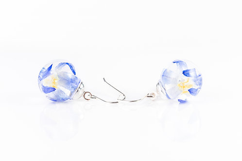 Glory of the snow wildflower sterling silver resin sphere drop earrings